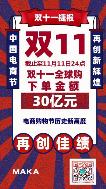 国潮风双十一 11销售业绩战报海报