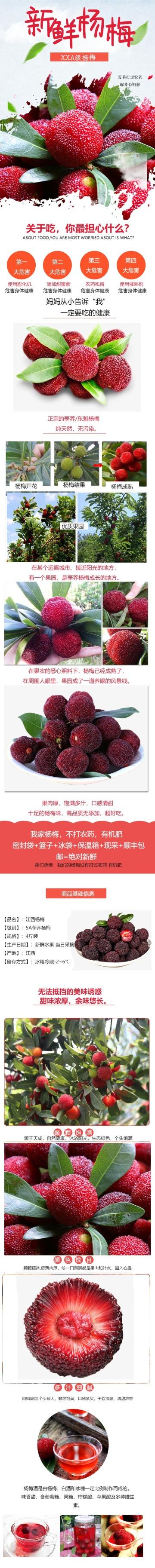 清新简约百货零售生鲜水果杨梅促销电商商品详情页