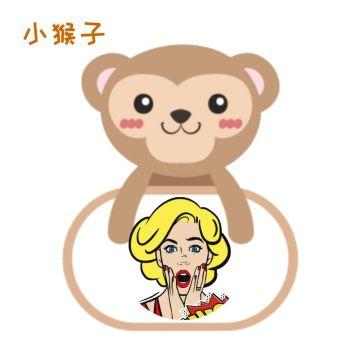 咖啡色可爱卡通小猴子头像边框适合个性头像社交朋友圈封面