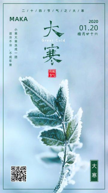 清新传统二十四节气大寒宣传节气日签手机海报模版