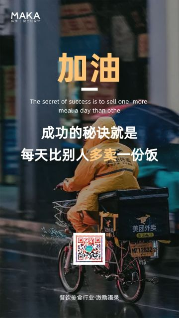 深色调励志风格2021餐饮行业励志正能量宣传海报