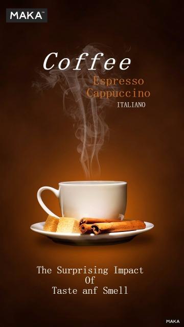 咖啡热饮宣传海报棕色条简约风格