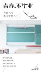 简约文艺小清新青春不毕业青春飞扬毕业旅行励志梦想大学生毕业季宣传海报