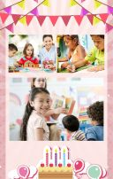 粉色卡通儿童生日宴会邀请函模板/小孩生日宴会/儿童生日派对