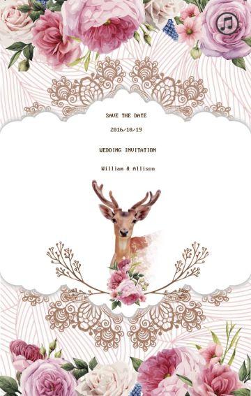 森系花朵动物婚蕾丝礼邀请函