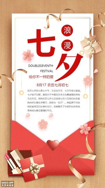 七夕七夕七夕情人节七夕贺卡浪漫七夕由来海报