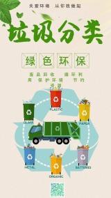 绿色简约卡通设计风格垃圾分类城市环境环保公益宣传海报