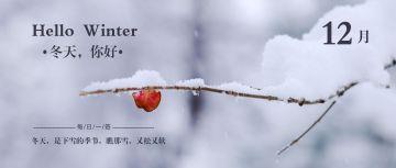 简约文艺早安大雪你好冬天你好12月日签早安心情寄语微信公众封面大图