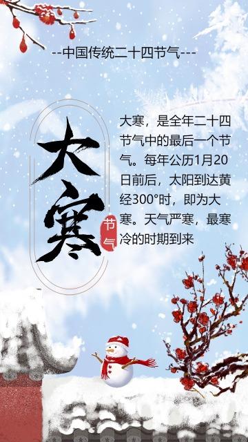 清新时尚大寒节气宣传
