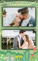绿色手绘卡通婚礼请柬邀请函翻页H5
