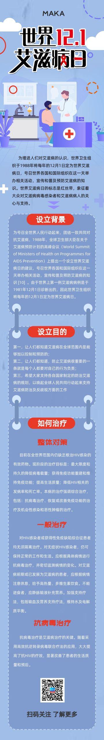 蓝色简约世界艾滋病日宣传科普长页