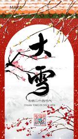 红色高端大气大雪传统二十四节气宣传手机海报