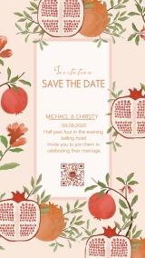 粉色石榴主题马卡龙婚礼请柬海报
