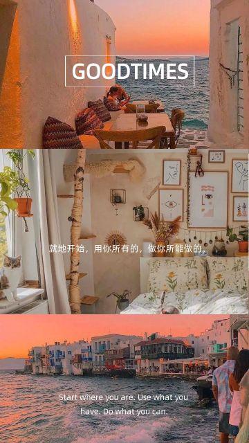 橙色文艺简约大气欧美时尚艺术拼图海报
