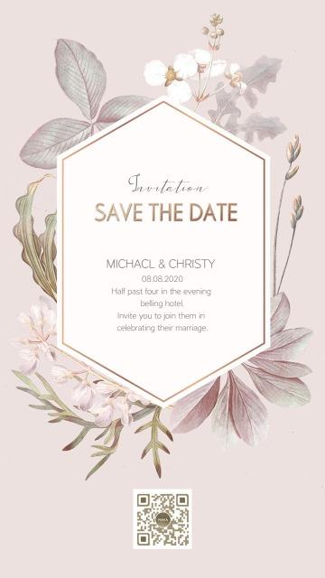 灰粉色手绘花卉素材玫瑰金色边框优雅婚礼请柬海报