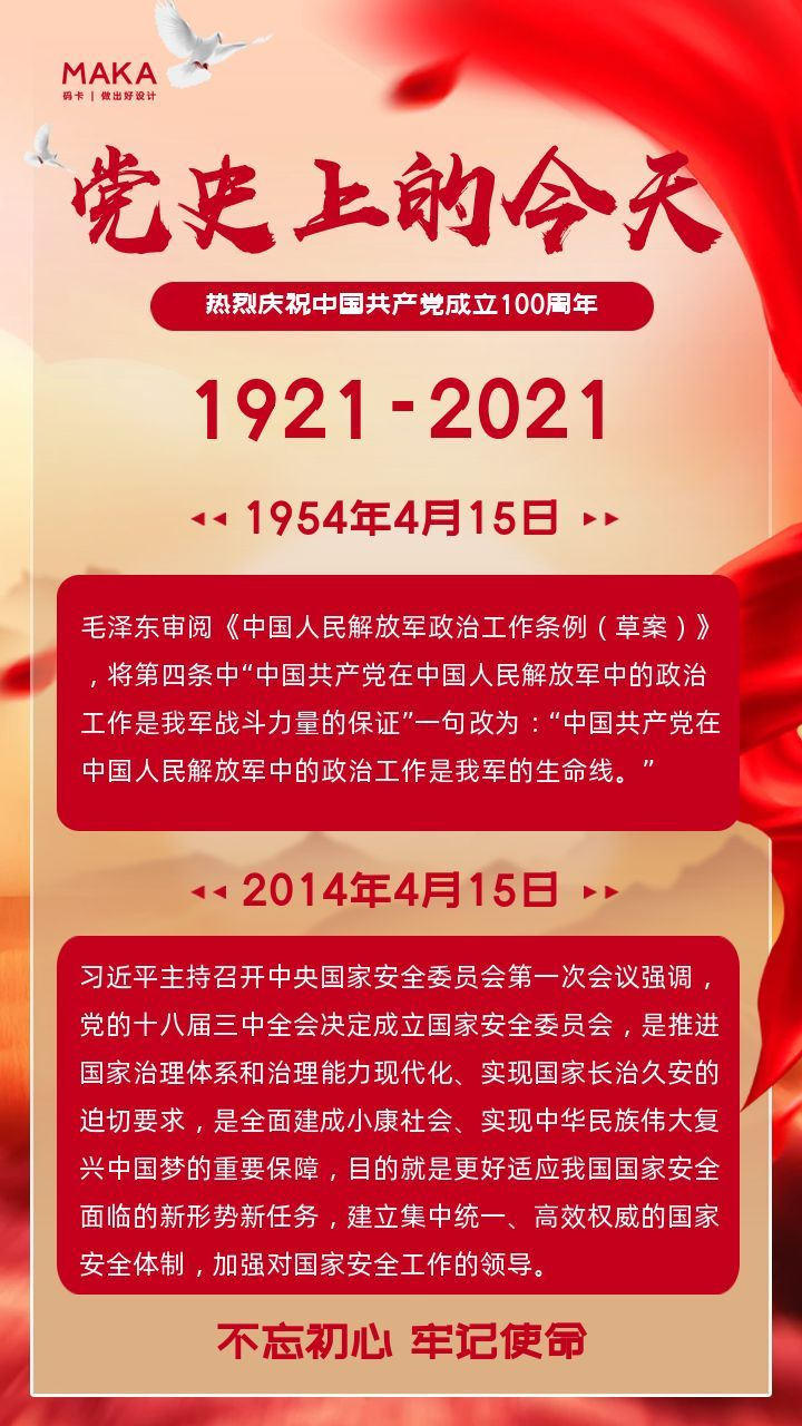 热烈庆祝中国共产党成立100周年党史上的今天海报