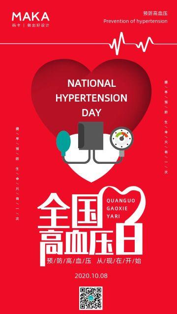 简约大气红色全国高血压日健康行业宣传手机海报