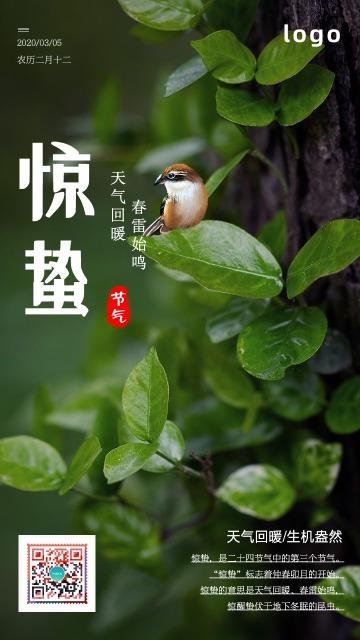 惊蛰春天春分立春雨水节气企业公司商场朋友圈促销微信朋友圈绿色宣传海报