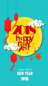 简约 清新蓝 卡通 手绘 新年祝福 贺卡