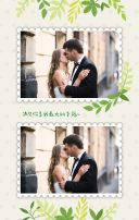 简约时尚手绘水彩森系清新绿色叶子婚礼邀请函结婚请柬请帖