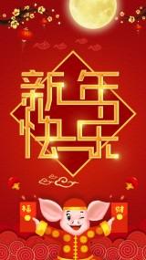 2019猪年中国风红色喜庆新年祝福 元旦贺卡 拜年视频