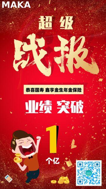 红色大气金融行业业绩战报宣传海报