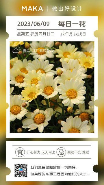 黄色小清新风格心情日签每日一花海报
