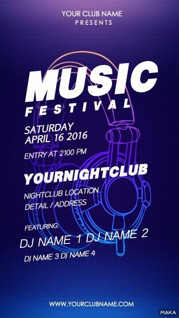 迷幻蓝简洁耳机酒吧夜店派对音乐会活动宣传海报