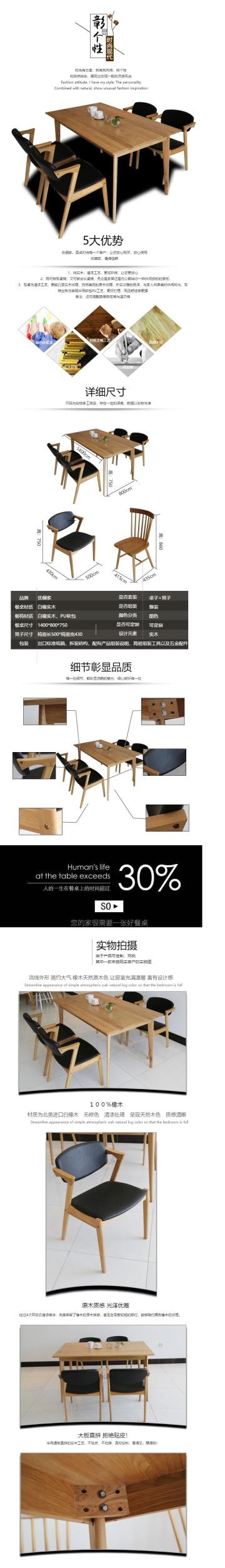 时尚现代实木桌椅电商详情页