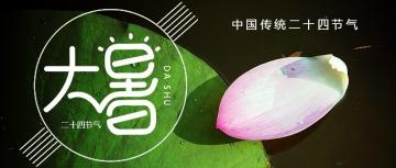 文艺清新风大暑节气宣传通用微信公众号封面