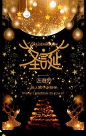 炫丽黑金圣诞节邀请函