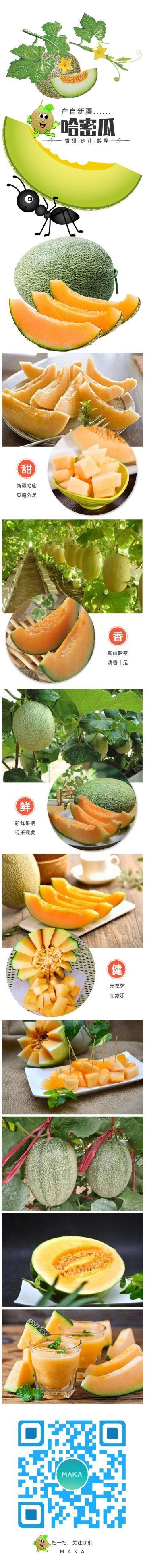 水果哈密瓜扁平简约设计产品详情页海报
