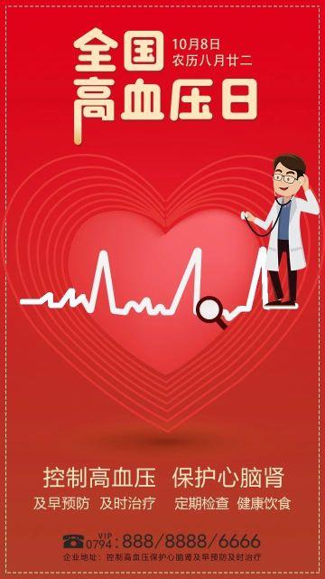 红色简约全国高血压日节日宣传手机海报