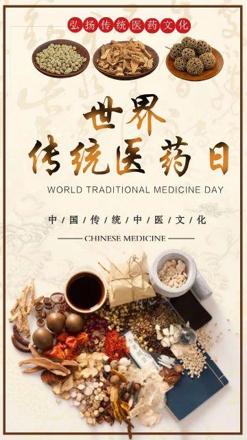 简约世界传统医药日宣传复古中国风海报
