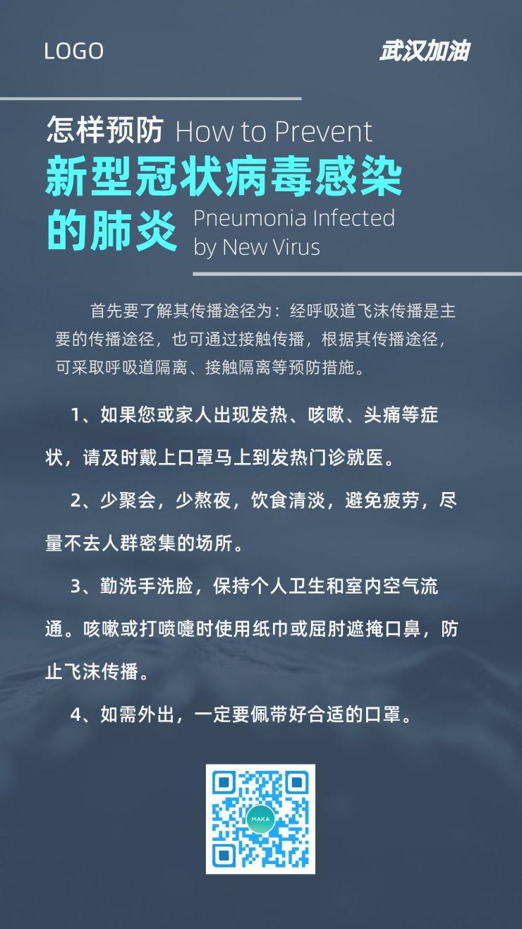 蓝色简约健康预防新型冠状病毒肺炎疫情医疗卫生宣传海报