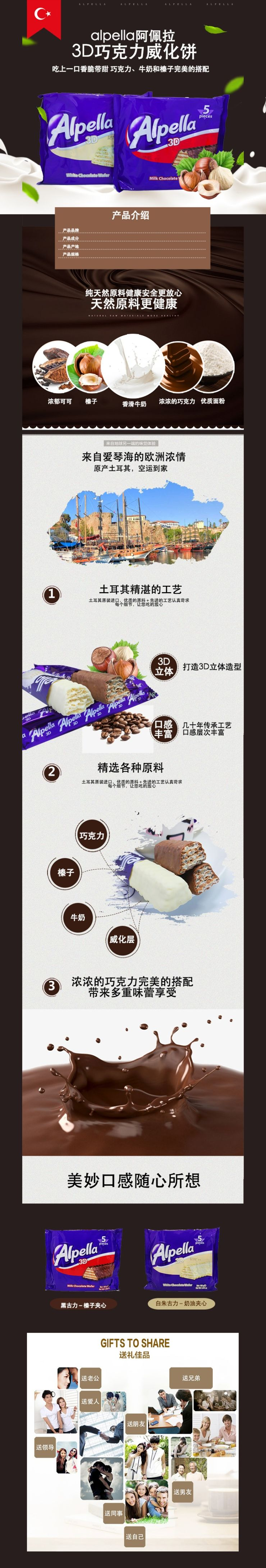 简约时尚零食巧克力威化饼电商详情图