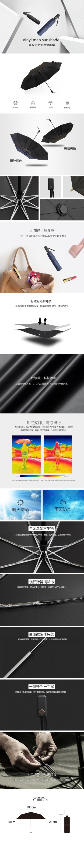 扁平简约百货零售家居生活黑胶雨伞促销电商详情页