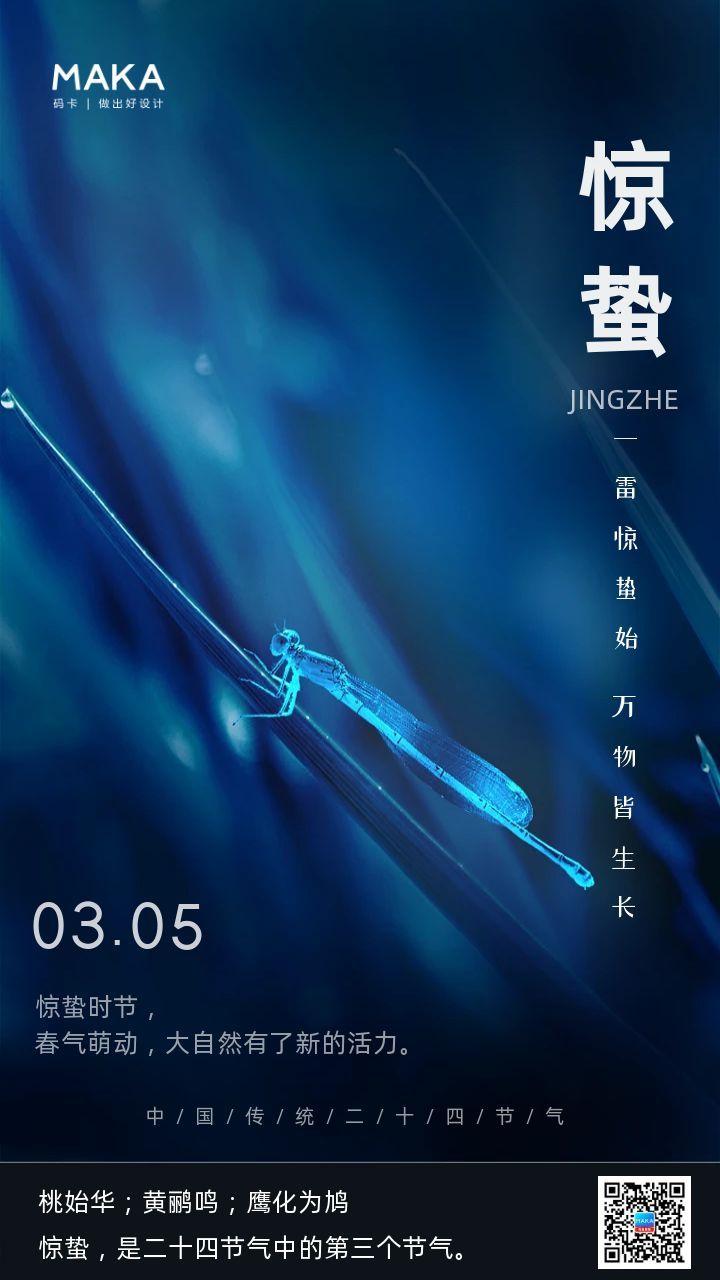 蓝色简约风格惊蛰节气企业宣传手机海报