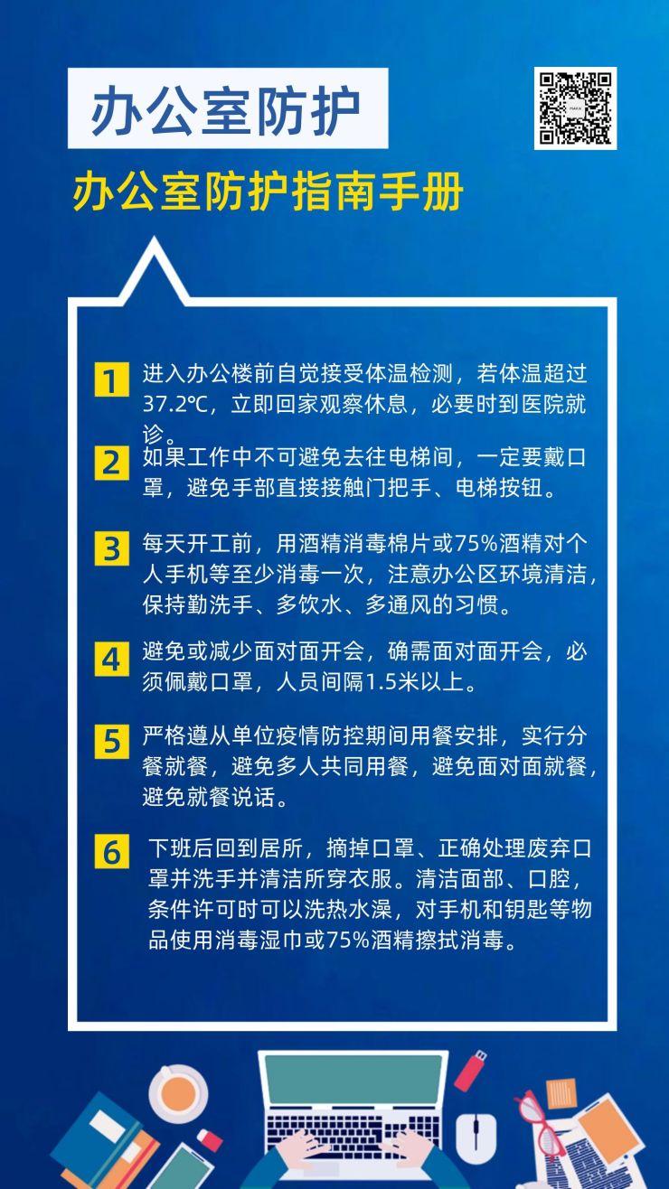 办公室人员预防新型冠状病毒肺炎防护指南手机海报