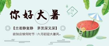 淡绿色清新插画设计风格二十四节气之大暑宣传微信公众号大图