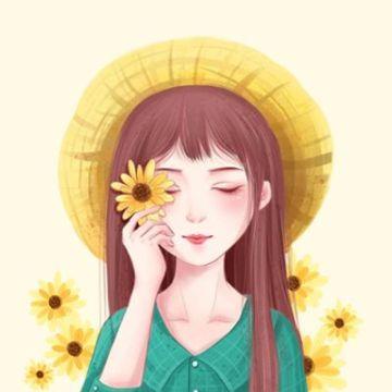 黄色简约明亮鲜花少女微信头像