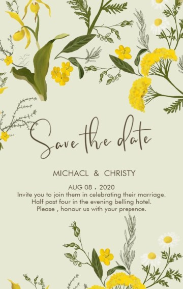 马卡龙绿灰绿草绿小清新黄绿花朵小鸭子田园可爱婚礼请柬邀请函