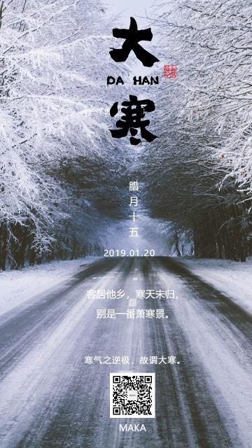 大寒节气天寒地冻白色大气海报