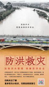 县嗲简约风暴雨天气防洪救灾通知宣传海报
