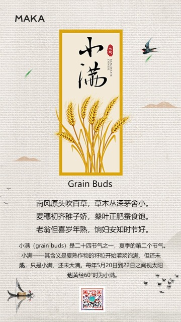 中国风小满二十四节气创意海报日签
