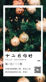 十二月你好简约文艺励志12月心情早安问候日签手机版海报