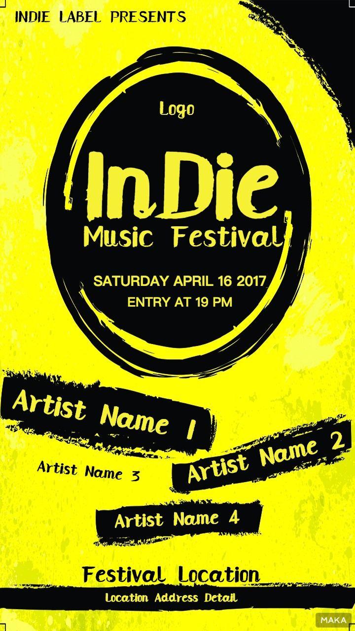 复古喷墨风格派对音乐节音乐会活动宣传海报