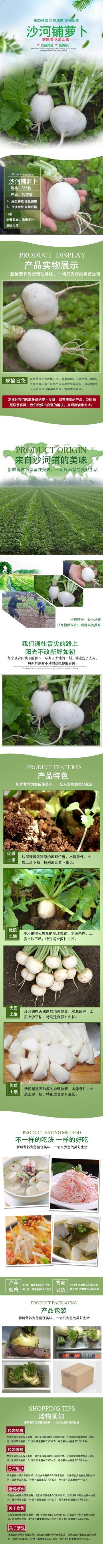 绿色清新文艺生鲜果蔬萝卜电商宣传营销宝贝详情
