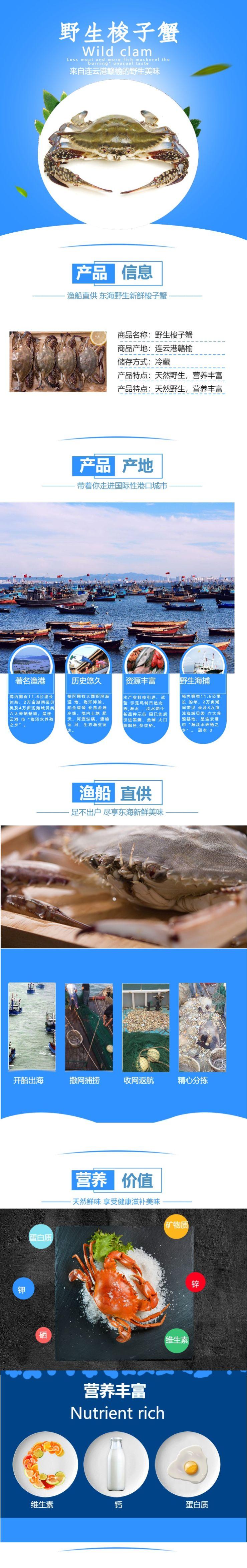 简约清新螃蟹美食电商详情页