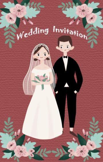 红色手绘卡通风格清新花朵婚礼请柬